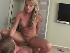 Mature blonde Shayla Laveaux enjoys sucking on a huge cock previous to fucking it hard