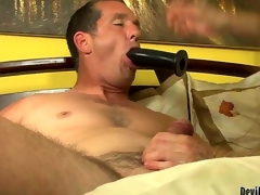 Alexandra Silk is giving her fresh man Paul Carrigan a great bj while this chab is sucking on a toy as well. She actually works on his wang and then gives him a ride and you just know this chab is waiting for something.