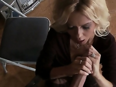 Clothed blond milf Barbi Sinclair is playing with enormous huge piece of meat of Keiran Lee. That babe stands on knees sucking and jerking off his large throbbing pecker so well.