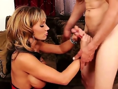 Horny and tattooed dude Chris Johnnson gets his hard and big dick sucked by a lovely blonde milf with large honkers Nikki Sexx on her knees in her living room and ejoys