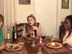 This dinner that MILF porn star Darla Crane is throwing for her juvenile kitty friends Alia Starr and Madison Young looks innocent from the start but It will soon get nasty!