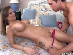 Nasty brunette cougar Syren De Mer with big perfectly shaped hooters and smoking hot body gives head to young postman and gets boned unfathomable to loud orgasm in bedroom