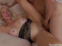 Lewd and aroused blonde milf with big boobs Erica Lauren enjoys in seducing her young neighbour Mr. Pete and getting her shaved bawdy cleft slammed hard on the bed in bedroom