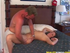 Provocative brunette milf with natural tits and bewitching juicy ass in white undies seduces tanned filthy dude and enjoys engulfing his stiff knob in bedroom on a lazy afternoon