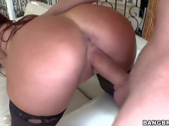 Red-haired hot milf Tiffany Mynx in stockings shows off her bubble butt and giant titties after she takes off her bra and panties. She gets her vagina pounded deep and hard doggy style!