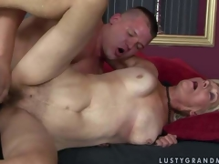 Brad Russel is a horny aged blonde woman with wet hirsute snatch. She acquires her pussy fucked by hard dicked youthful man who cant get enough. Watch mature slut get banged in many poses by hot youthful man