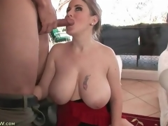 Incredible curves and huge tits on cocksucking milf