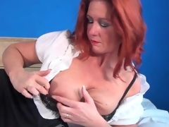 Petticoat and blouse on older redhead in erotic porn