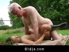 Young girl and old man fucking and licking each other