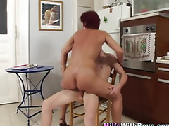 Mature redheaded milf sucks dick after fucking young stud