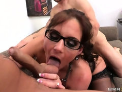 She needed cock so badly, and she welcomed one both in her love tunnel and one in her mouth
