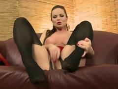 Leggy brunette hair in naughty lingerie licks her beautiful red heels