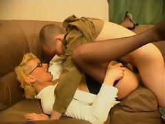 Lustful milf teasing younger guy with her skills in cock-sucking and riding