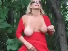 Horny grown up bitch fingering in wood