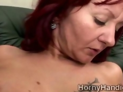Comely redhead juggy is totally roasting added to starving for a hard dick