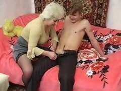 Russian Granny plus young supplicant