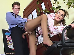 Lusty aged gal in control top tights luring policeman into fucking frenzy